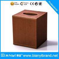 Wholesale Logo customized middle sized hotel leather products pu leather tissue box from china suppliers