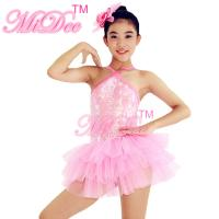 China Pink Sleeveless Tutu Dance Dress Knee Length Glitter Bodice Dance Solo Costumes For Competitions on sale