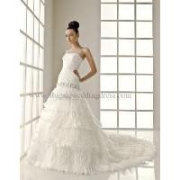 Wholesale Drop Waist With Beading Work Pleated Tiered Wedding Dress Gown (WD10008) from china suppliers