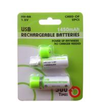 Wholesale 1.2V 1450mAh USB Rechargeable AA Batteries-Green from china suppliers