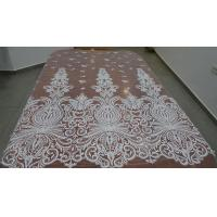 Wholesale Embroidered Guipure Beaded Lace Fabric Polyester On Nylon Mesh With Flower from china suppliers