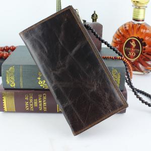 China Multi Slot Zipper Unisex Credit Card Genuine Leather Wallet Money Clip on sale
