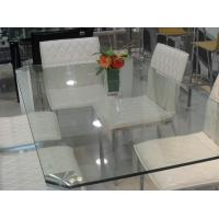 China Rectangle Glass Top Table Desk , Thick Glass Table Transparent on sale