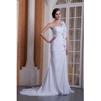 Wholesale Attractive One Shoulder Sweetheart White Mermaid Chiffon Wedding Bridal Gown With Flowers from china suppliers