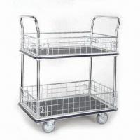 Wholesale Iron Net Type Trolley with 2 Shelves Platform and Galvanized Mesh from china suppliers