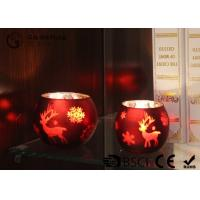 China painted ball shape glass candle holder with laser picture with LED tealight on sale