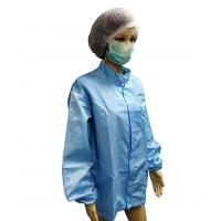 Wholesale Antistatic Cleanroom Jackets 5mm Grid Polyester YKK Zip with Logo Printing from china suppliers