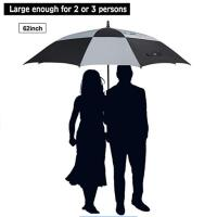 Wholesale 62 inch oversized Travel Square Golf Double Layer Air Vent Umbrella Windproof Large Straight Handle for men and women from china suppliers