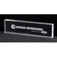 China personalized 3D laser engraved glass crystal desk name card plate on sale