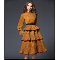 Wholesale fashion polyester print layered skirt fringed dress medium style from china suppliers