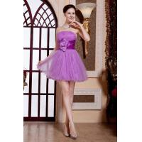Wholesale Best Selling Strapless Tulle Ruffle Fluffy Purple Short Evening Prom Dress With flower from china suppliers