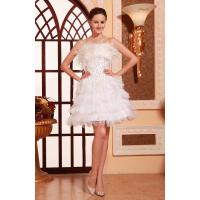 Wholesale Charming Strapless Satin Ruffle White sequins Evening Dresses For Short Party Gowns With Feather from china suppliers