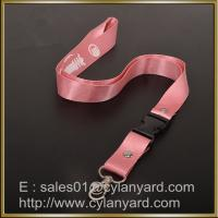 Wholesale Pink Nylon lanyard for ID badge holder, nylon neck ribbon with detachable buckle from china suppliers