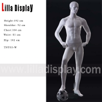 Wholesale sport athletic football player male mannequin right leg stepping on ball pose TNY03-W from china suppliers