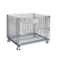 Wholesale Foldable Rolling Wire Mesh Pallet Cages 1000kg Loading Capacity 1000*800*840 Mm from china suppliers