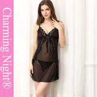 Side Open Transparent Sexy Beautiful Women Cute Girls Lace Lingerie Chemise