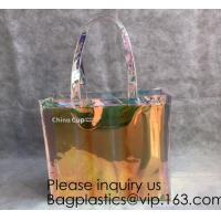 China Holographic PVC Tote Bag,Shoulder Bag Laser Hologram PVC Shopping Tote Bag Lady,Clothes Shirt Swimwear sock Packaging on sale