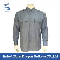 Buy cheap Light Blue Poplin Military Tactical Shirts 65% Poly 35% Cotton With7 Button Placket from Wholesalers