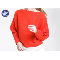 Boat Neck  Womens Knit Pullover Sweater Lady Sexy Drop Shoulder Ottoman Knitted Jumper