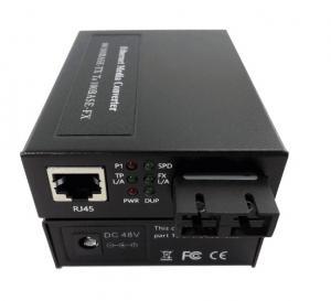 Quality Single Fiber Optic Media Converter , Ethernet Fiber Media Converter 48VDC Power for sale