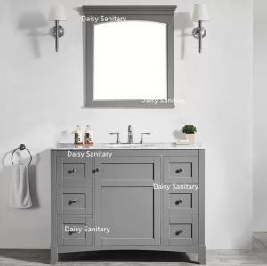 China Floor Standing Marble Top Bathroom Vanity Grey Color Big Drawers With DTC Metal Runners on sale