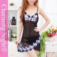 Embroidered Adult Woman Elegant Hot Sexy Mesh Chemise Lingerie Dress