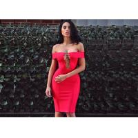 Buy cheap Summer Red Lady Sexy Hollow Out A - Line Midi Party Bandage Dress from Wholesalers