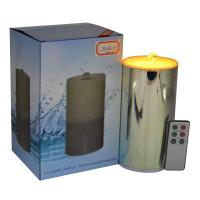 China Rechargeable 3D Glass Fireworks Flameless Candle Fountain With 3D Battery on sale