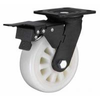 China 6x2 white nylon wheel for heavy duty caster with total brake black lacquer plated on sale