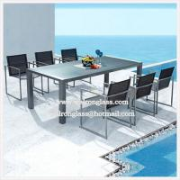 Wholesale Fashion Outdoor Iron Furniture Dark Blue Tempered Glass from china suppliers