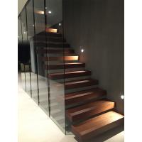 Wholesale Clear glass railing floating stair with anti slip slots on steps from china suppliers