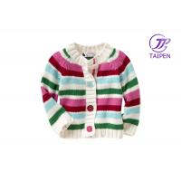 Wholesale Lovely Red And Green Stripe Winter Knitting Patterns Kids Sweaters Cardigan With Button from china suppliers