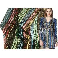 Buy cheap Small Stripe Colorful Sequin Dress Fabric Textile Net Rainbow 380g Weight from wholesalers