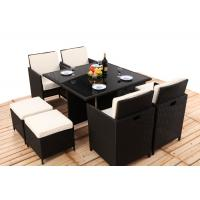 8CM Thickness Cushion Rattan Dining Table And Chairs 4PCS Ottoman Covered