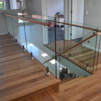Wholesale Stainless steel spigot clear glass railing with wooden top handrail design from china suppliers