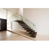 Wholesale Build Floating Stair with clear glass railing from china suppliers