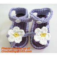 Quality Crochet newborn baby girl summer shoes baby moccasins hand knitted baby sandals crochel for sale