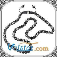 China Black resin beads wrap necklace SBN002 with clear stones on sale