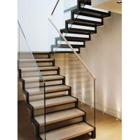Wholesale Stainless steel straight solid wood staircase with glass balustrade from china suppliers