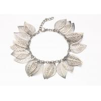 Buy cheap Silver Hollow Leaf Costume Jewelry Charm Bracelets With Clasp Extender from Wholesalers