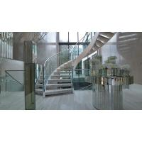 Wholesale Prefab metal stringer frame glass railing arc curved staircase from china suppliers
