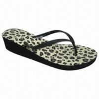 Buy cheap Women's New Model High-heel Beach Sandal with Animal Print Insole, Fashionable from wholesalers