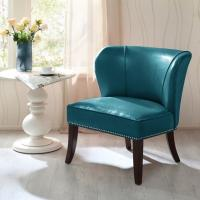 Overstuffed Upholstered Accent Chairs , Leather Accent Lounge Chair With Armless