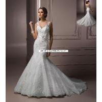 Wholesale V-Neck and V-Back Sash With Flowers Mermaid Wedding Gown (WD10030) from china suppliers
