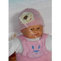 Quality Pink Baby Girls Crochet Winter Hat With Flower Applique / Buttons for sale