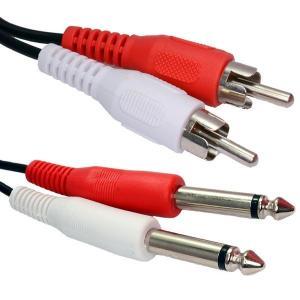 China 6.35mm MONO Jack Plugs to RCA Phono Plugs OFC Audio Cable 1.8m on sale