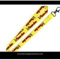 Wholesale custom heat transfer logo yellow polyester lanyard strap with plastic buckle from china suppliers