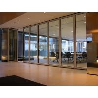 China Interior Office 12 mm Tempered Sliding Glass Partition Wall Powder Coating on sale