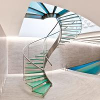 Wholesale Interior glass spiral staircase with inox steel rod railing design from china suppliers