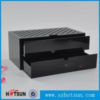 China Custom made acrylic storage box cost-effective black acrylic box with two drawer on sale